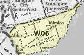 Toronto W06 area map condos